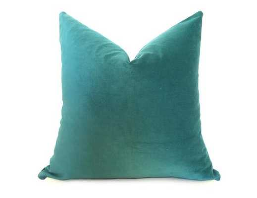 "Cotton Velvet Pillow Cover - Jade - No insert 20"" - made to order - Willa Skye"