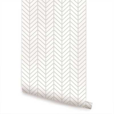 Nevaeh Herringbone Line Matte Peel and Stick Wallpaper Panel - Wayfair