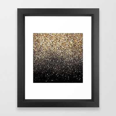 Black & Gold Sparkle Framed Art Print - 10x12 - vector black frame - Society6