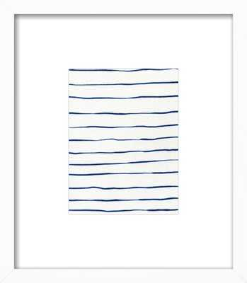 "Blue Stripes/ White Wood Frame/with matte/ 8"" x 10"" - 13"" x 15"" - Artfully Walls"