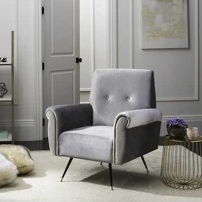 Mira Retro Mid Century Faux Leather Accent Chair - Light Grey - Arlo Home - Arlo Home