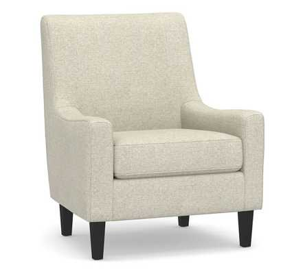 SoMa Isaac Upholstered Armchair, Polyester Wrapped Cushions, Performance Heathered Basketweave Alabaster White - Pottery Barn