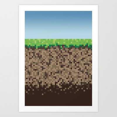 """Minecraft Block Art Print - Mini 8"""" x 10"""" - Society6"""