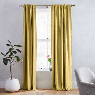 "Cotton Luster Velvet Curtain, Wasabi 48""x96""-individual - West Elm"