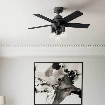 "44"" Hardwick 5 -Blade Standard Ceiling Fan with Remote Control and Light Kit Included - Wayfair"