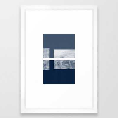 "Case Study No.1 | Blue + White Framed Art Print - 15"" x 21"" - Vector White Frame - Society6"