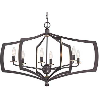 "Middletown 34"" Wide Downton Bronze 6-Light Oval Chandelier - Lamps Plus"