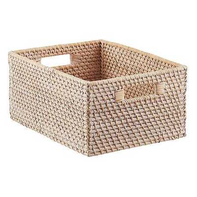 Whitewashed Rattan Bin - containerstore.com