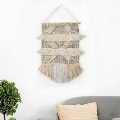 Cotton Diamond Tufted and Fringed Wall Hanging - Wayfair