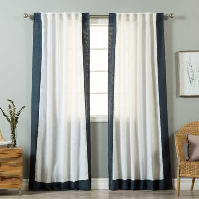 Aurora Home Colorblock Border Linen Blend Curtain Panel Pair - 52 x 84 - white/indigo blue - Overstock