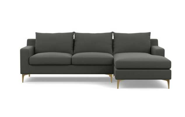 """Sectional Sofa with Right Chaise - 96"""" - Charcoal Heavy Cloth -Brass Plated Sloan L Leg - Interior Define"""