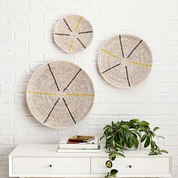 Mbare Graphic Wall Hanging, White, Set of 3 - West Elm