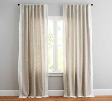 "Emery Border Linen/Cotton Rod Pocket Curtain, 50 x 84"", Oatmeal/Ivory - Pottery Barn"
