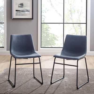 Navy Blue Aurik Upholstered Side Chair (Set of 2) - Wayfair