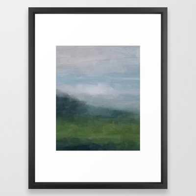 "Gray Blue Navy Indigo Grass Green Abstract Painting Wall Art Prints, Nature Horizon, Modern Wall Art Framed Art Print- FRAME Vector Black- Medium (gallery) - 20"" X 26"" - Society6"