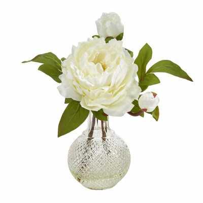Peonies Floral Arrangement in Vase - Wayfair