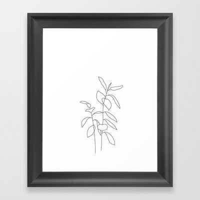 Plant one line drawing illustration - Ellie Framed Art Print - Society6