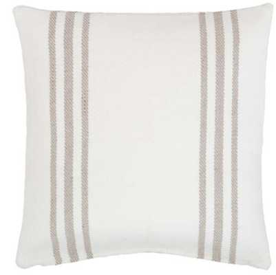 CAPE STRIPE WHITE/PLATINUM INDOOR/OUTDOOR PILLOW - Dash and Albert