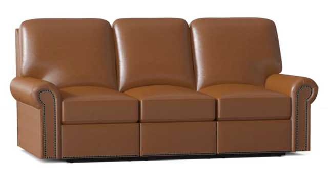 """Omnia Leather FairField Genuine Leather Reclining 84"""" Rolled Arm Sofa Body Fabric: Guanico Aztec, Nailhead Detail: Medium Antique Touching, Reclining Type: Manual - Perigold"""
