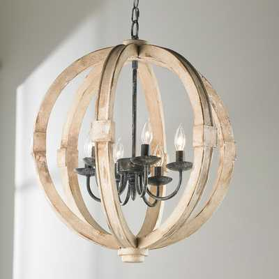 Distressed Wood Sphere Chandelier - Shades of Light