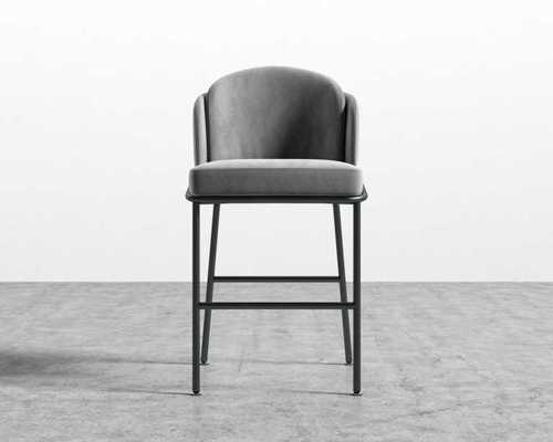 Angelo Counter Stool_Vintage Velvet, Glacier Grey.  Brass - Rove Concepts