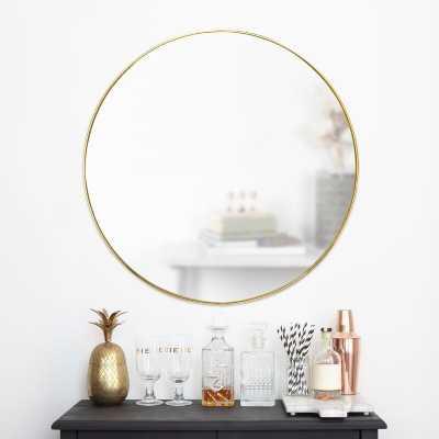 """Hubba Modern Accent Mirror 34"""" - Brass - Wayfair"""