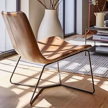 Slope Lounge Chair, Leather, Saddle, Charcoal, Set of 2 - West Elm