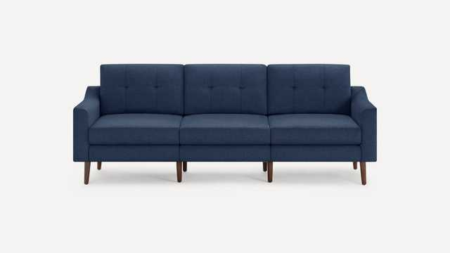 Burrow Navy Blue Sofa, 3 Seater, Low Arms, Black Wood Legs | Nomad Collection - Burrow