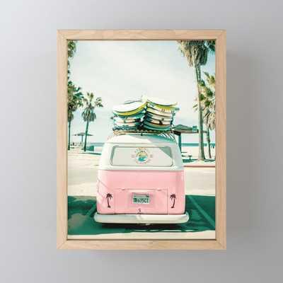 Combi van surf art pink Framed Mini Art Print, light maple hardwood frame - Society6