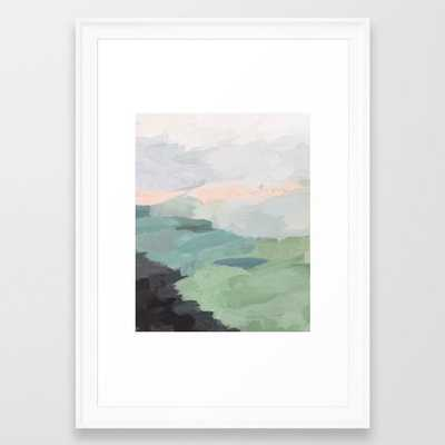 Seafoam Green Mint Black Blush Pink Abstract Nature Land Art Painting Framed Art Print -15x21 White Scoop Frame - Society6