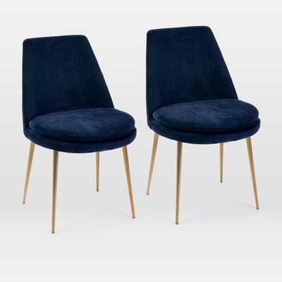 Finley Low-Back Velvet Dining Chair, Distressed Velvet, Ink Blue, Light Bronze, Set of 2 - West Elm