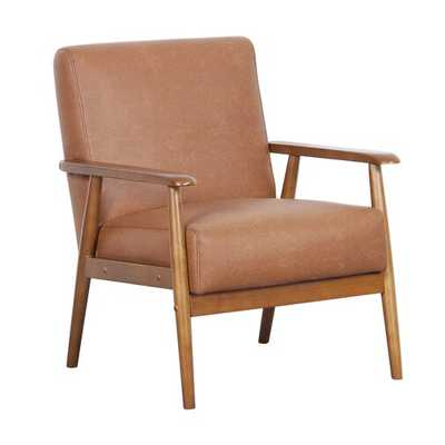 Pulaski Wood Frame Faux Leather Accent Chair in Cognac - Bed Bath & Beyond