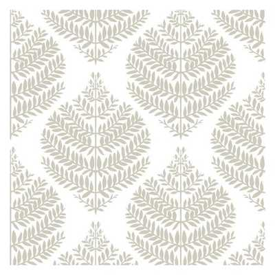 Hygge Fern Damask Peel and Stick Wallpaper, Taupe - York Wallcoverings