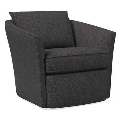 Duffield Swivel Chair, Poly, Luxe Boucle, Black/White, Concealed Supports - West Elm