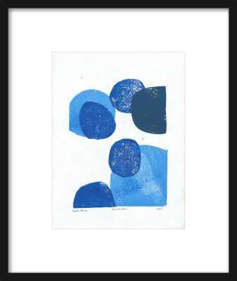 "Blue Bubble - Thin Black Wood Frame - 15.5"" x 18.5"" - Artfully Walls"