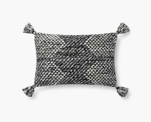 """P1143 MH Magnolia Home By Joanna Gaines Black / Ivory Pillow - 13""""x21"""" Poly-Filled - Loma Threads"""