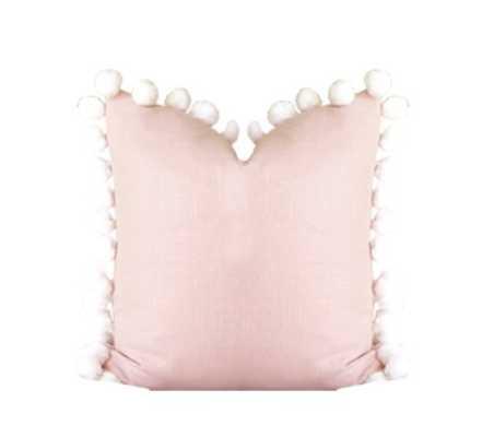 """Pom Pom Pillow Cover/ Blush / 18"""" x 18"""" - Willa Skye"""
