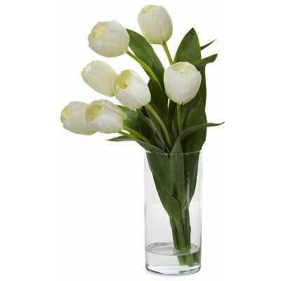 Tulip Floral Arrangement in Cylinder Vase - Wayfair