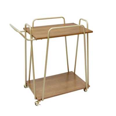 Emory 2-Tier Hairpin Gold and Brown Bar Cart - Home Depot