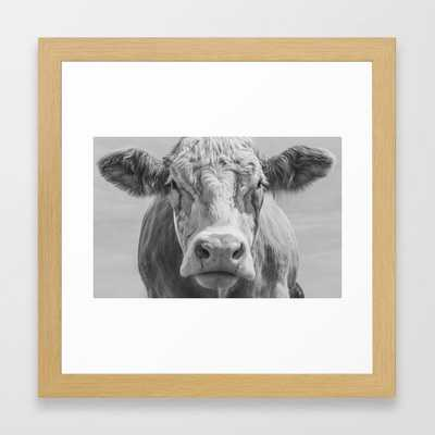 Animal Photography | Highland Cow Portrait Black and White | Farm Animals Framed Art Print - Society6