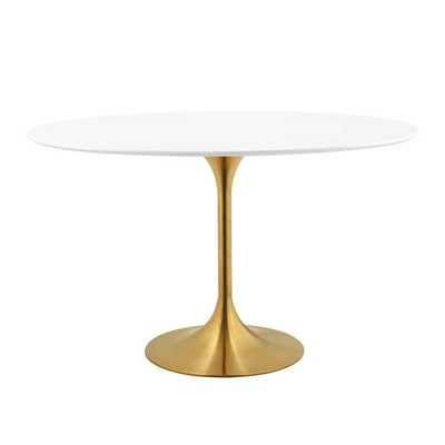 "LIPPA 48"" OVAL DINING TABLE IN GOLD WHITE - Modway Furniture"