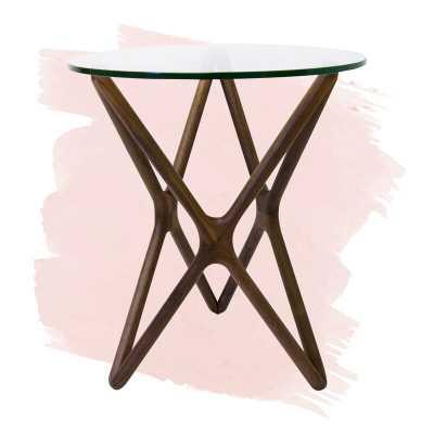 Conner Glass Top Cross Legs End Table - Wayfair