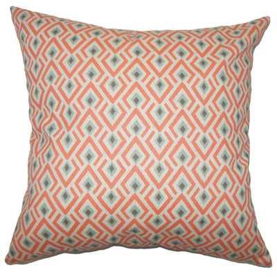 "Abhinav Geometric Pillow Orange -18""X18- Poly Insert - Linen & Seam"