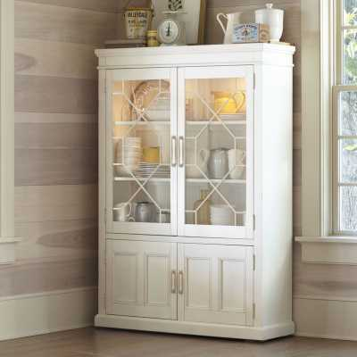 Lisbon Solid Rubberwood Lighted China Cabinet / Antique White - Birch Lane