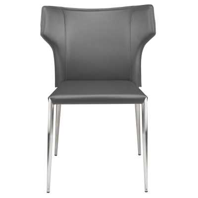 Wayne Dining Chair in Dark Grey w/ Brushed Stainless Steel Legs - Burke Decor