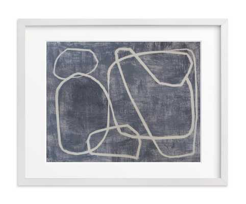 """Squiggles - 14"""" X 11"""" - White Wood Frame - Matted - Minted"""