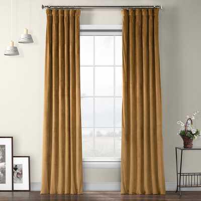 Spiced Rum Brown Plush Velvet Curtain - 50 in. W x 96 in. L - Home Depot
