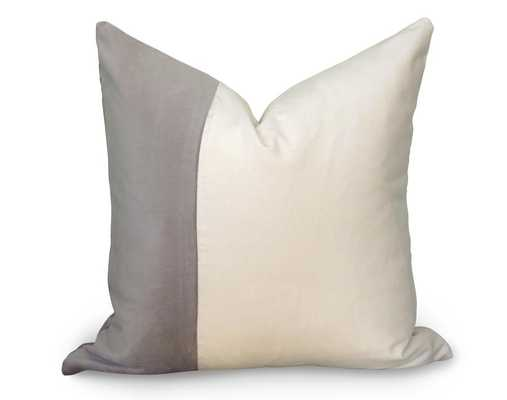 "Classic Colorblock Pillow Cover - Gray Velvet - 20"" - Willa Skye"