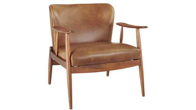 Troubadour Saddle Leather Wood Frame Chair - CB2