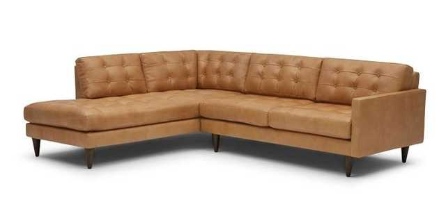 Eliot Leather Sectional with Bumper (2 piece) Left Orientation - Joybird